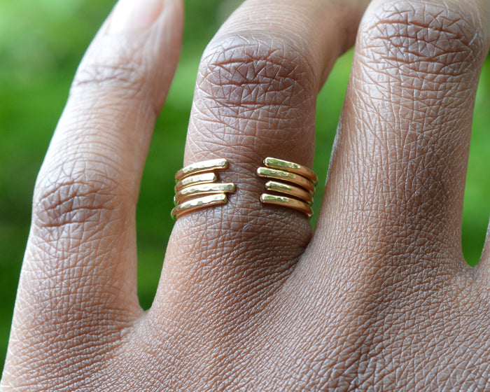 hammered cuff rings by aquarian thoughts jewelry