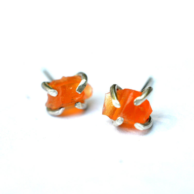 Raw carnelian stud earrings, aquarian thoughts jewelry