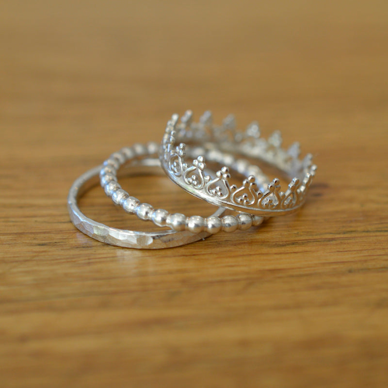 Silver Princess Crown Stacking Ring