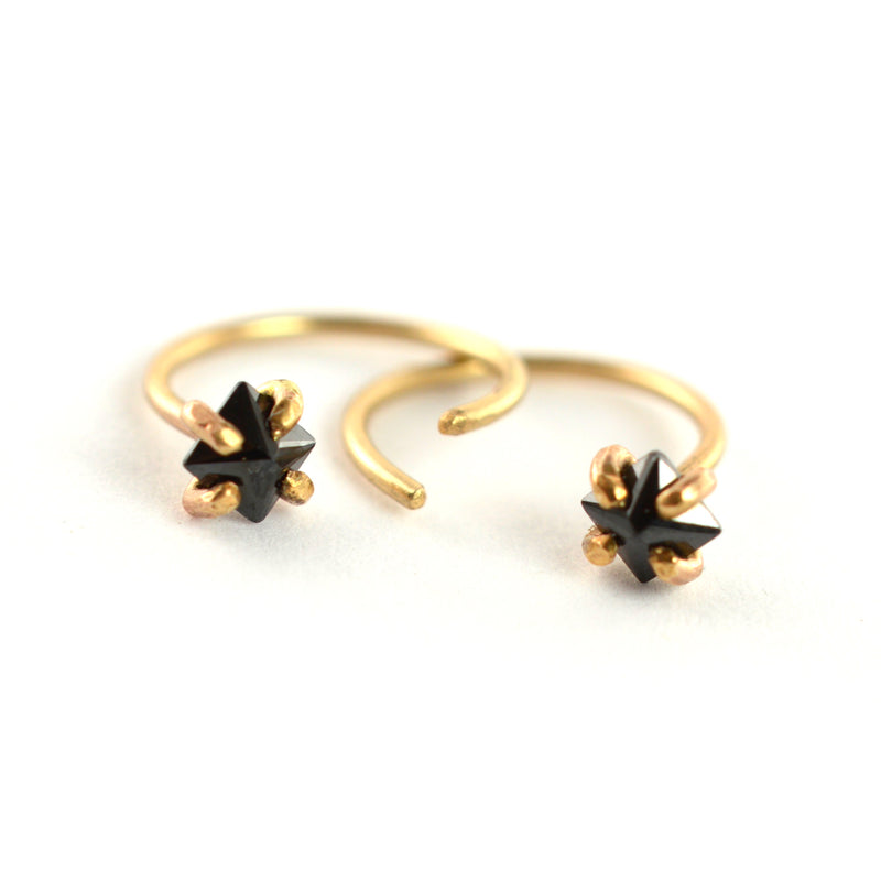 Black CZ Ear Huggers by Aquarian Thoughts Jewelry