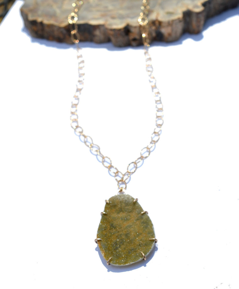 Green Drusy Necklace