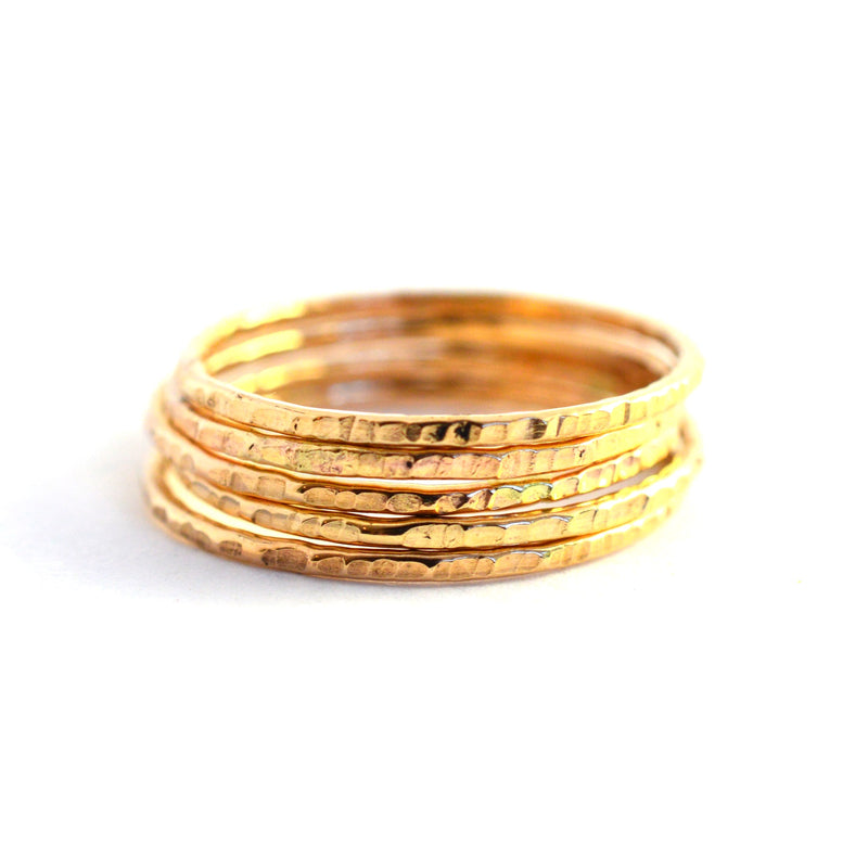 """Tree Bark"" Gold Fill Stacking Ring - Set of 3"