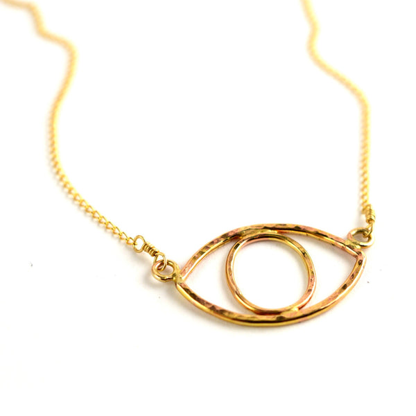 Hammered All Seeing Eye Necklace