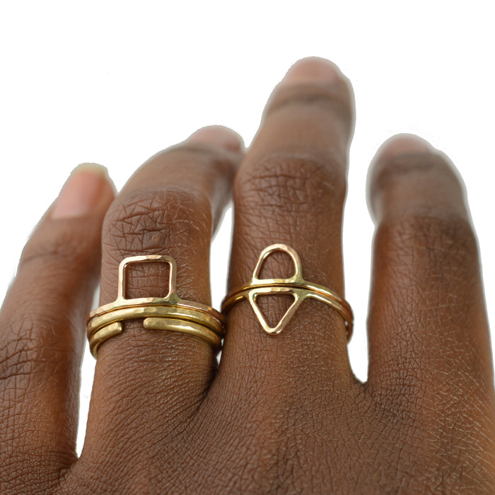 geometric stackable rings by aquarian thoughts jewelry
