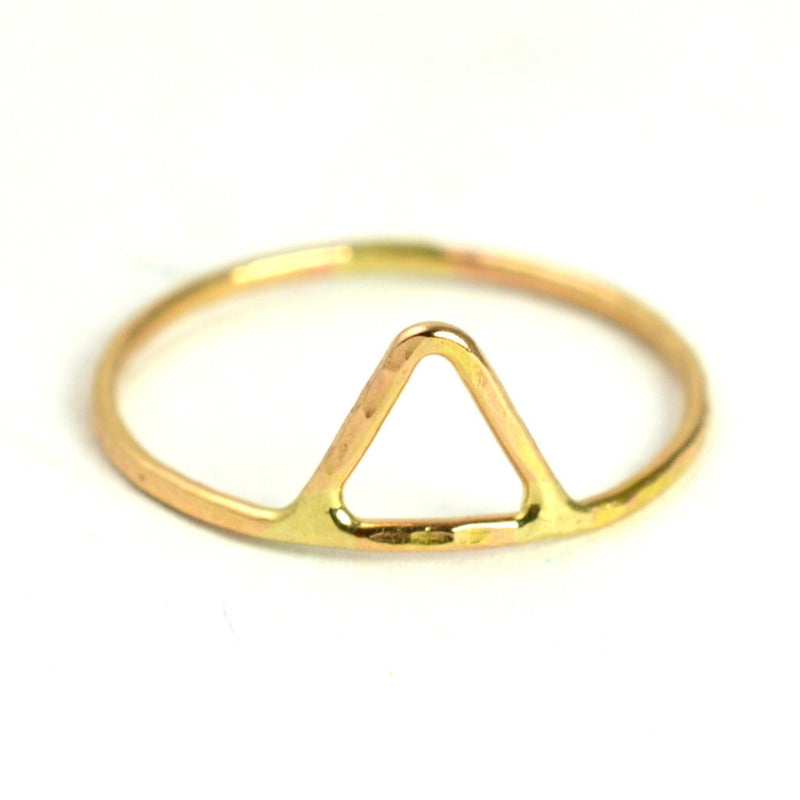 hammered triangle stacking ring by aquarian thoughts jewelry