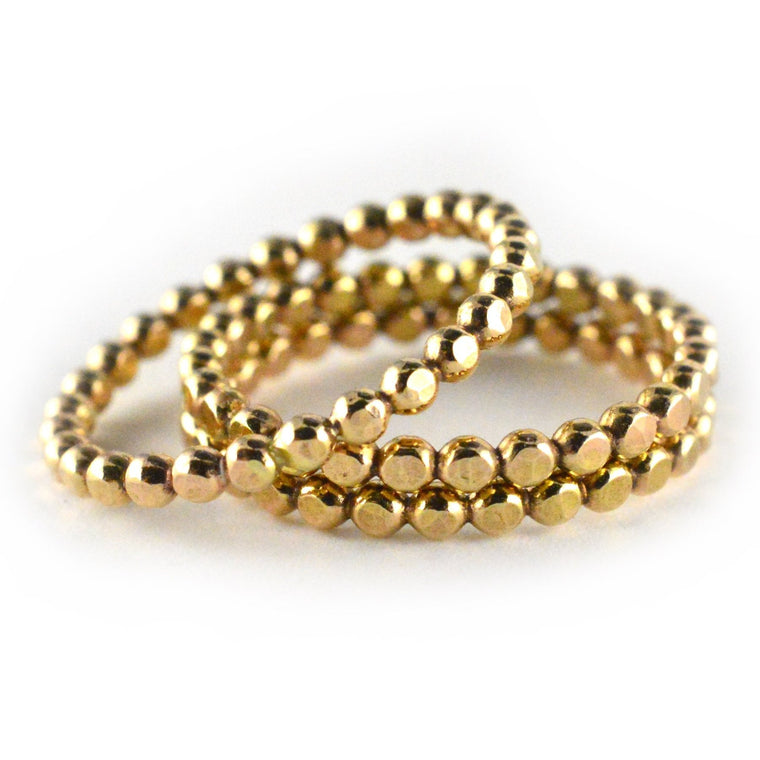 Gold Beaded Stacking Ring