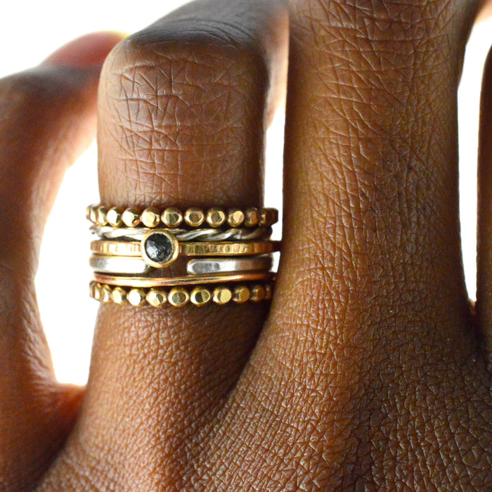 ornate gold stacking ring, aquarian thoughts jewelry