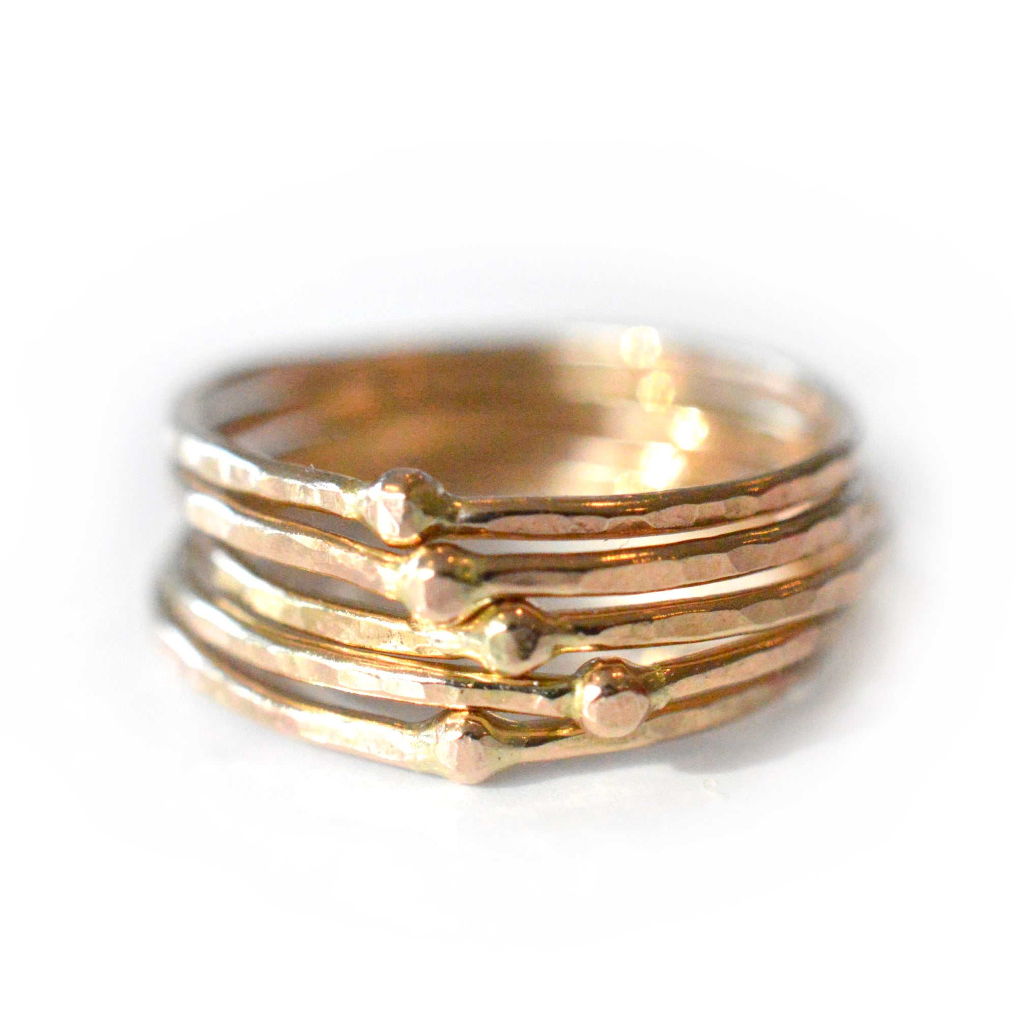 Hammered Bead Stacking Rings - Set of 5