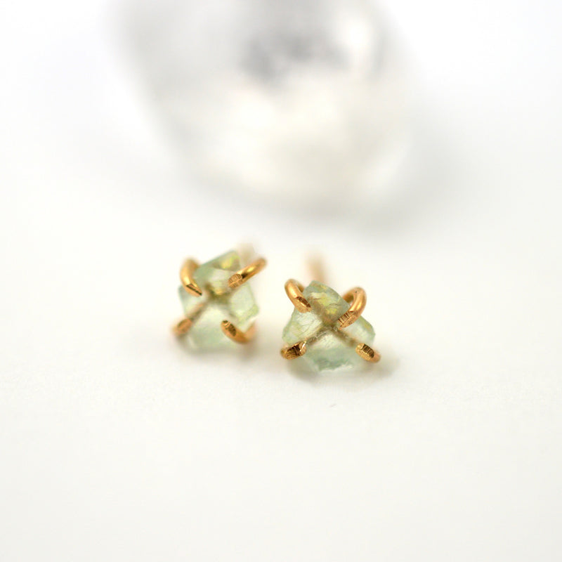 Raw fluorite stud earrings, aquarian thoughts jewelry