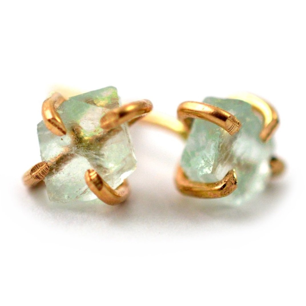 green fluorite stud earrings