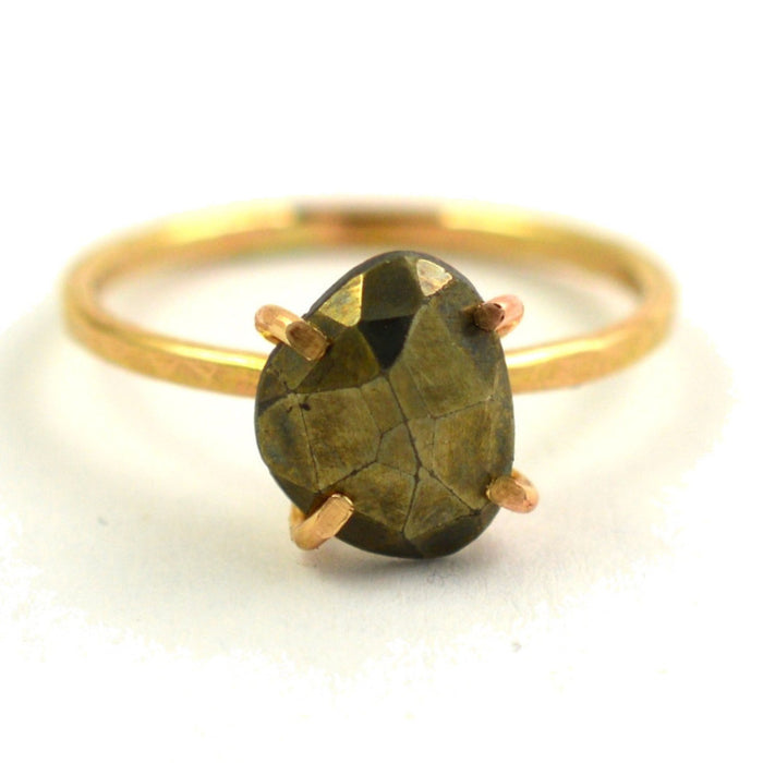 rosecut pyrite claw ring by aquarian thoughts jewelry