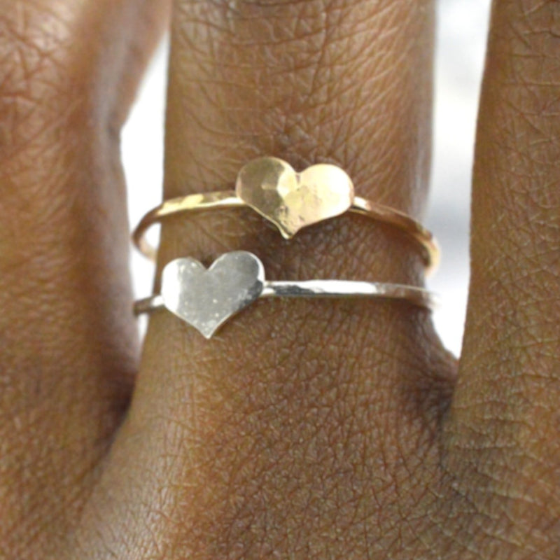Tiny Hammered Heart Ring