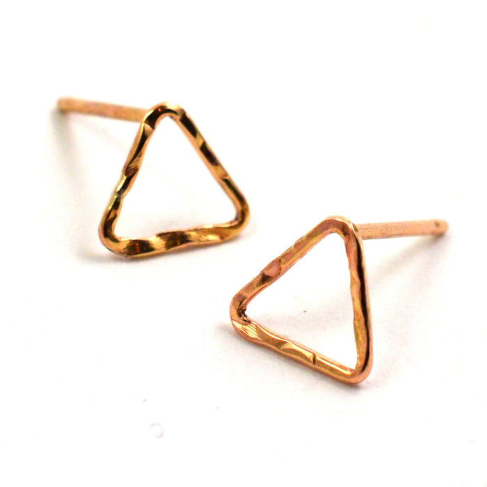 triangle stud earrings, aquarian thoughts jewelry
