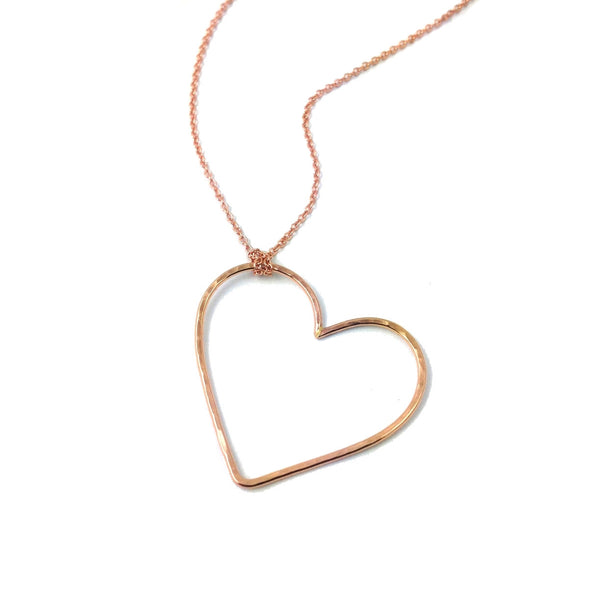 Hammered Open Heart Pendant Necklace