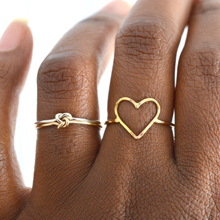 artisan jewelry, metal heart ring