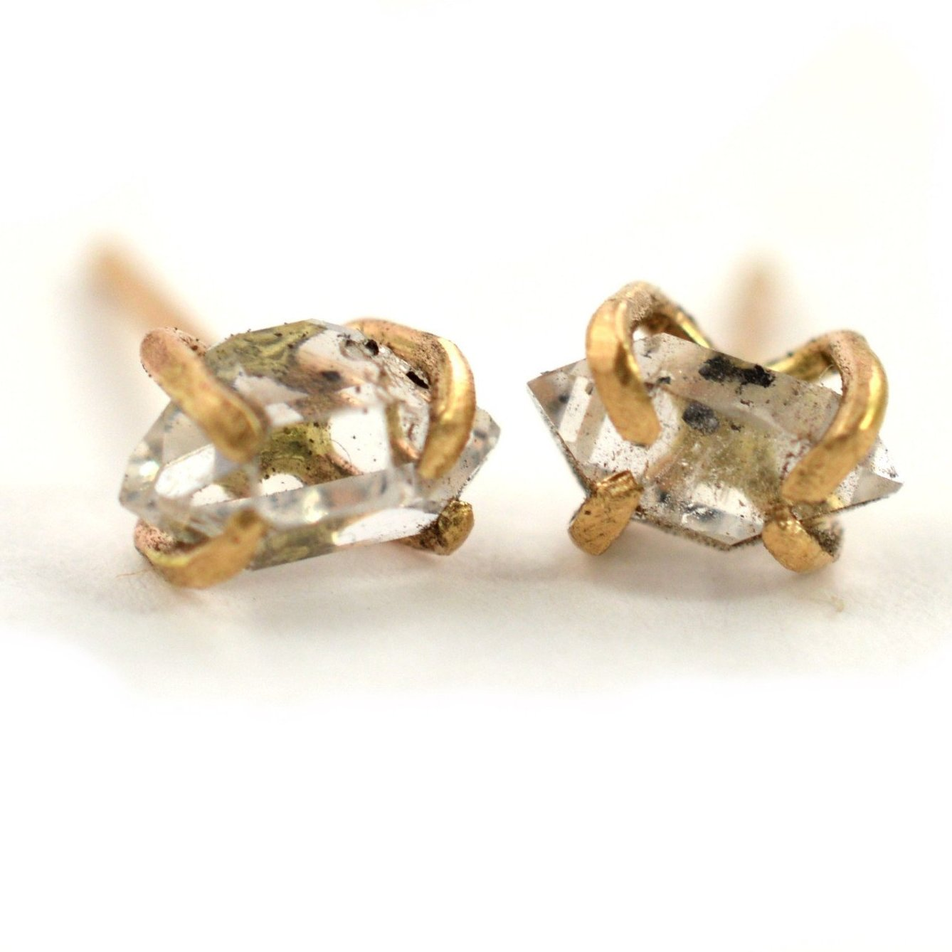 Raw stone earrings, herkimer diamond stud earrings, aquarian thoughts jewelry