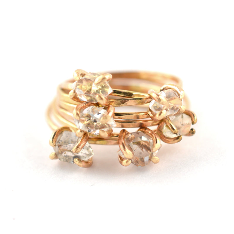 skinny herkimer diamond ring, rough diamond ring