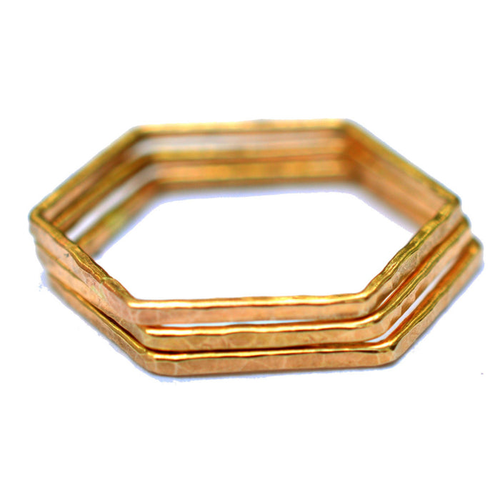 gold hexagon stackable rings by aquarian thoughts jewelry