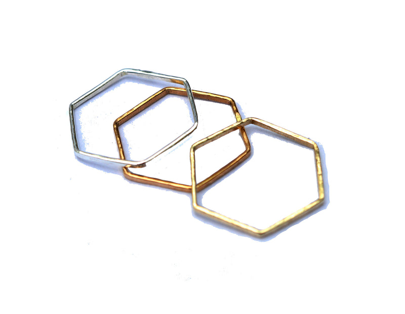 hexagon stackable rings by aquarian thoughts jewelry