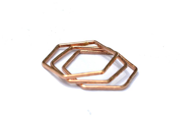 Rose Gold Hexagon Stacking Ring