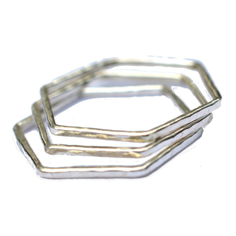 Silver Hexagon Stacking Ring