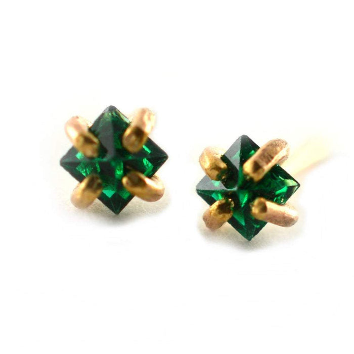 Princess Cut Gemstone Earring Studs