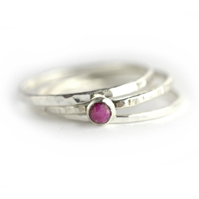 Size 7 / Pink Ruby Stacking Ring Set of 3