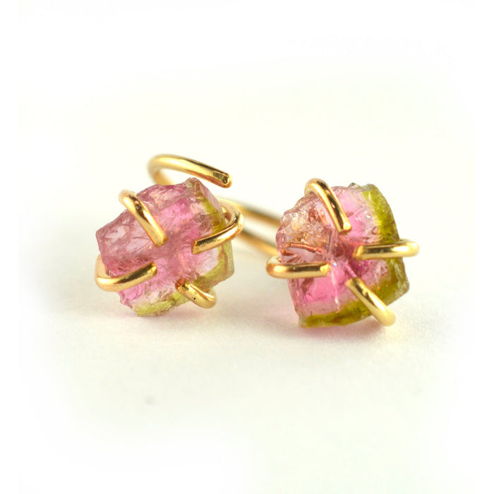 Watermelon Tourmaline Slice Hugger Hoops