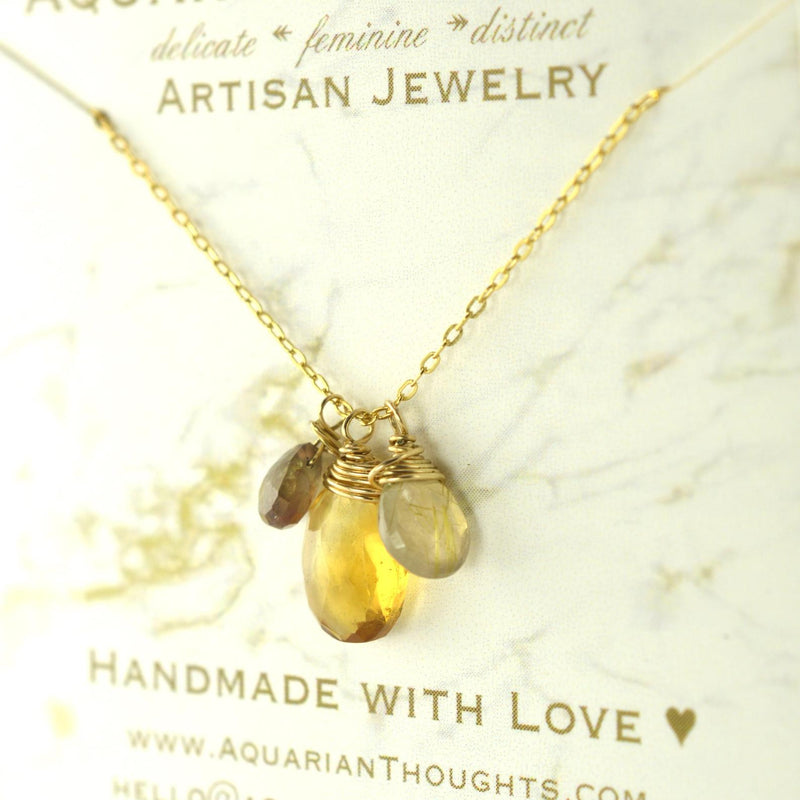 Citrine Charm Necklace