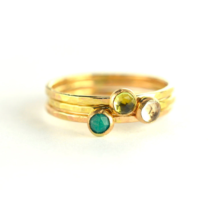 Size 4 / Gemstone Gold Stacking Ring Set of 3