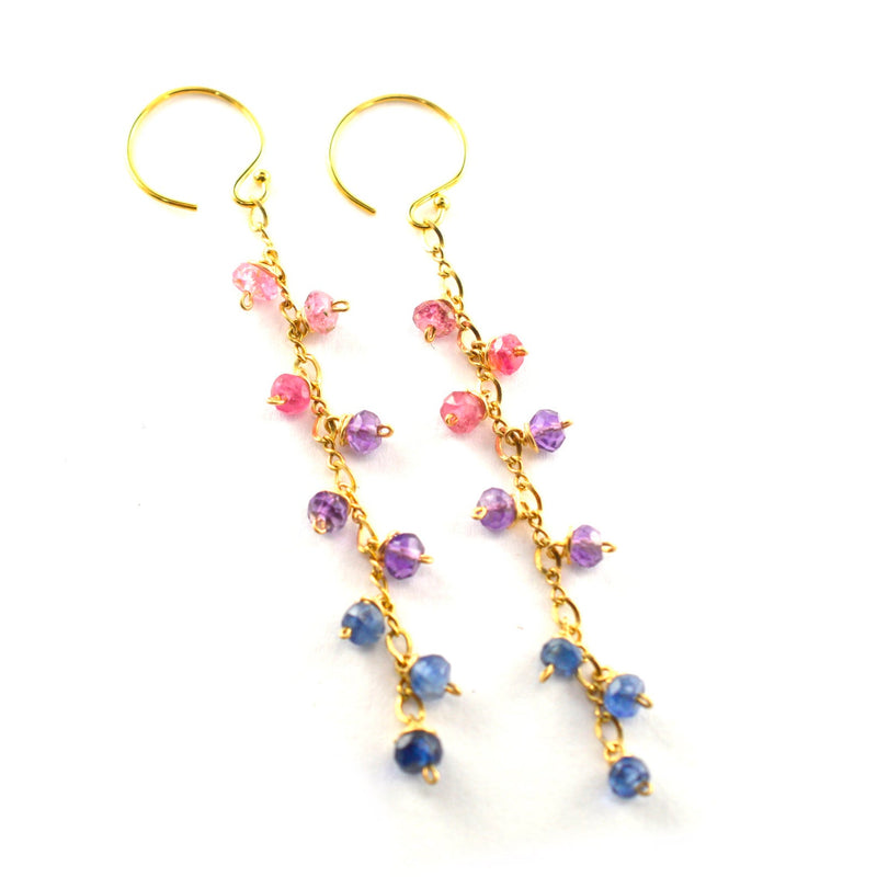 Sapphire Ombre, Amethyst, Pink Tourmaline Dangle Earrings