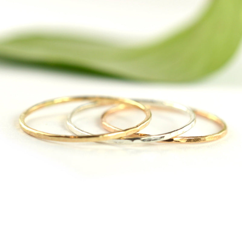 Size 10 / Mix Metal Stackable Rings Set of 3
