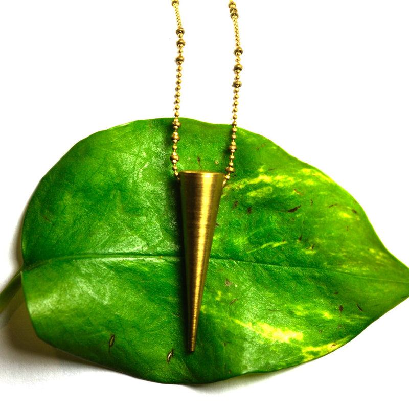 Brass Spike Pendant Necklace, Aquarian Thoughts Jewelry