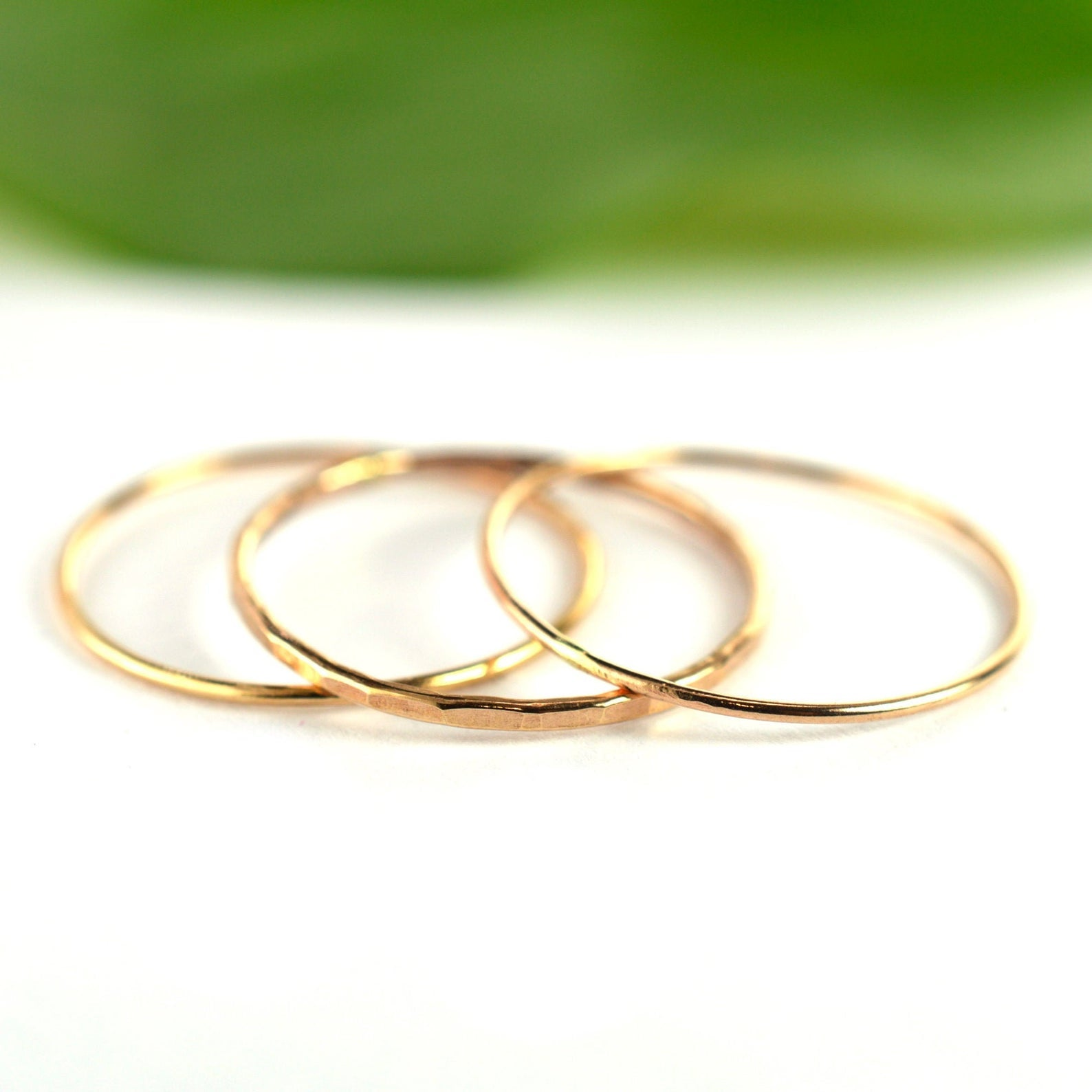 Size 8 / Rose Gold Stackable Ring Set of 3