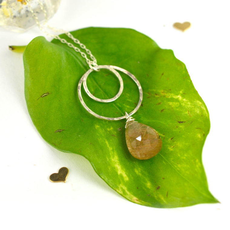 Rutile Quartz Double Circle Pendant