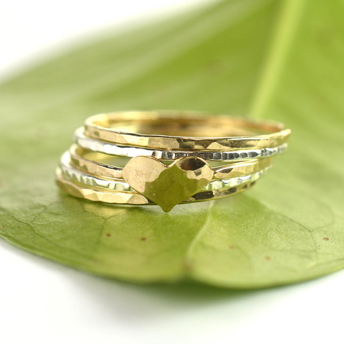 Size 7 / Gold Heart Ring Set of 5