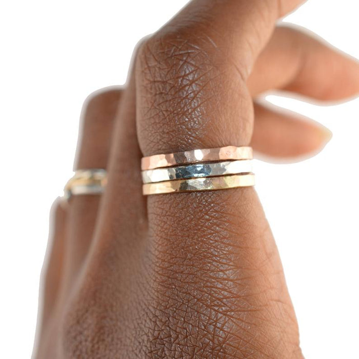 Hammered Mixed Metal Stacking Ring - Set of 3