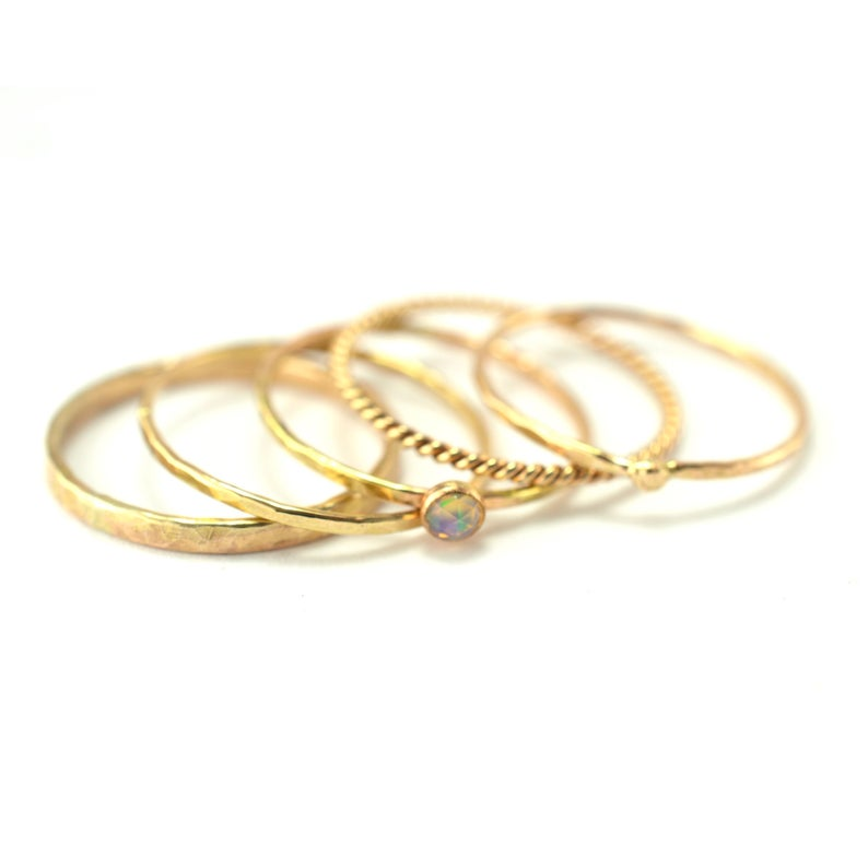 Size 8 / Opal Gold Stacking Ring Set of 5