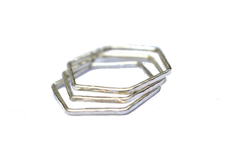 Hammered Gold Fill Hexagon Stacking Ring - Set of 3