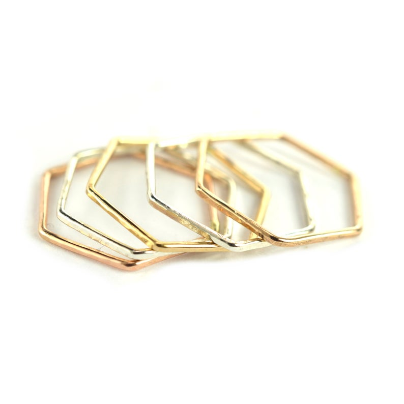 Size 6 / Stackable Hexagon Rings Set of 5