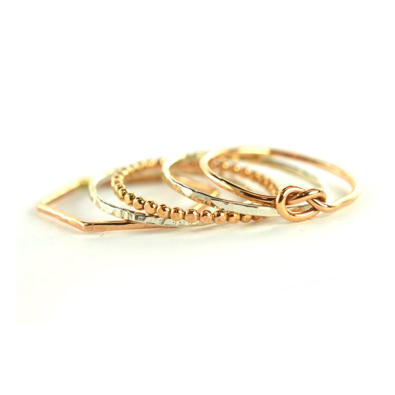 Size 6 / Silver & Rose Gold Mixed Stackable Rings Set of 5