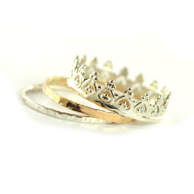 Size 6-6.5 / Silver Crown Ring Stacking Set of 3