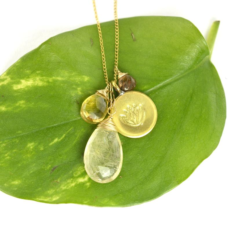 Golden Rutile Lotus Pendant Necklace