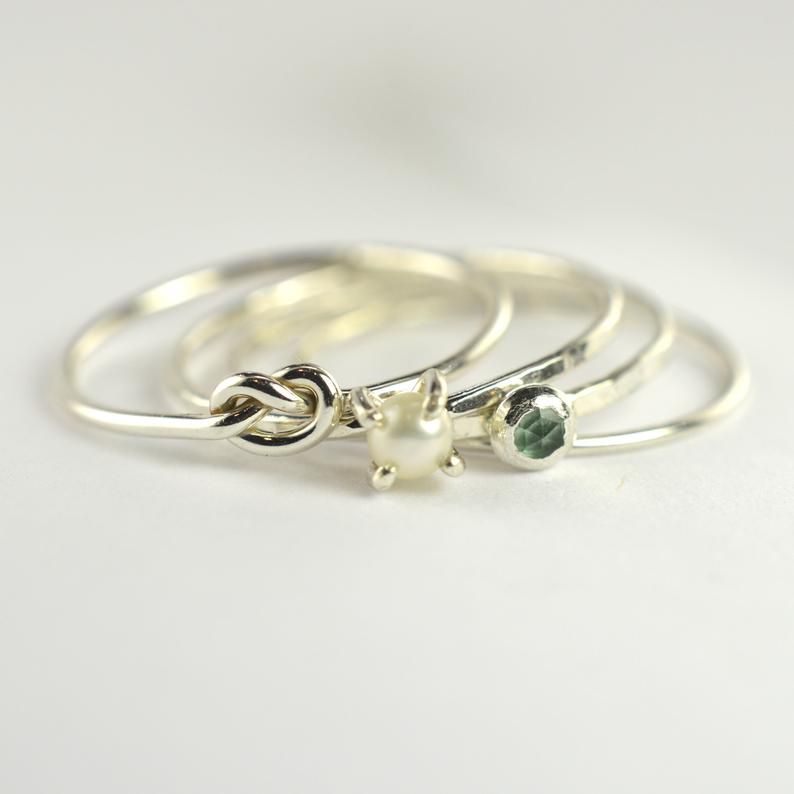 Size 7 / White Pearl & Aquamarine Stacking Ring Set of 4