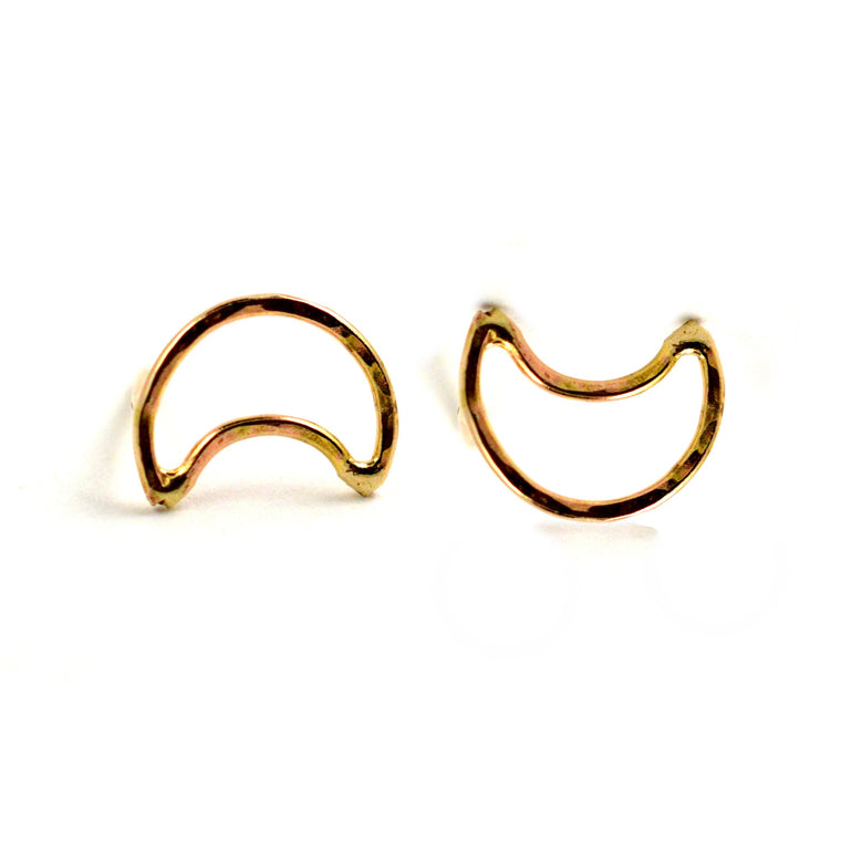 crescent moon stud earrings, aquarian thoughts jewelry