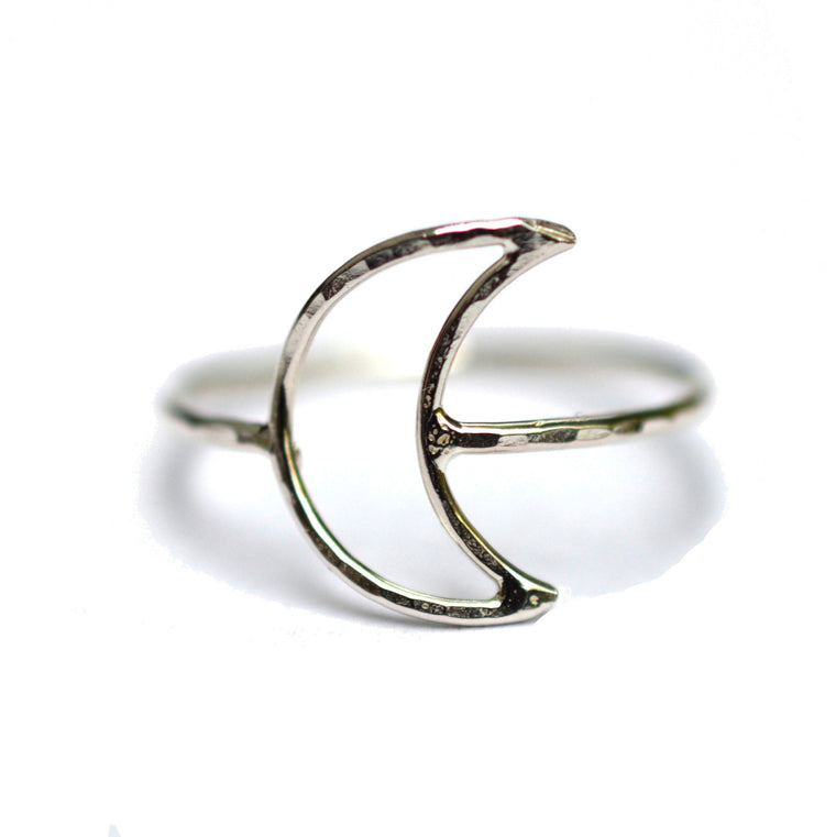 Hammered Crescent Moon Ring