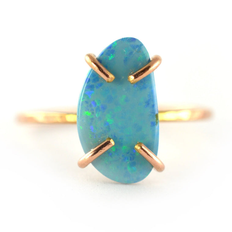 Blue Opal Doublet Ring, Size 6