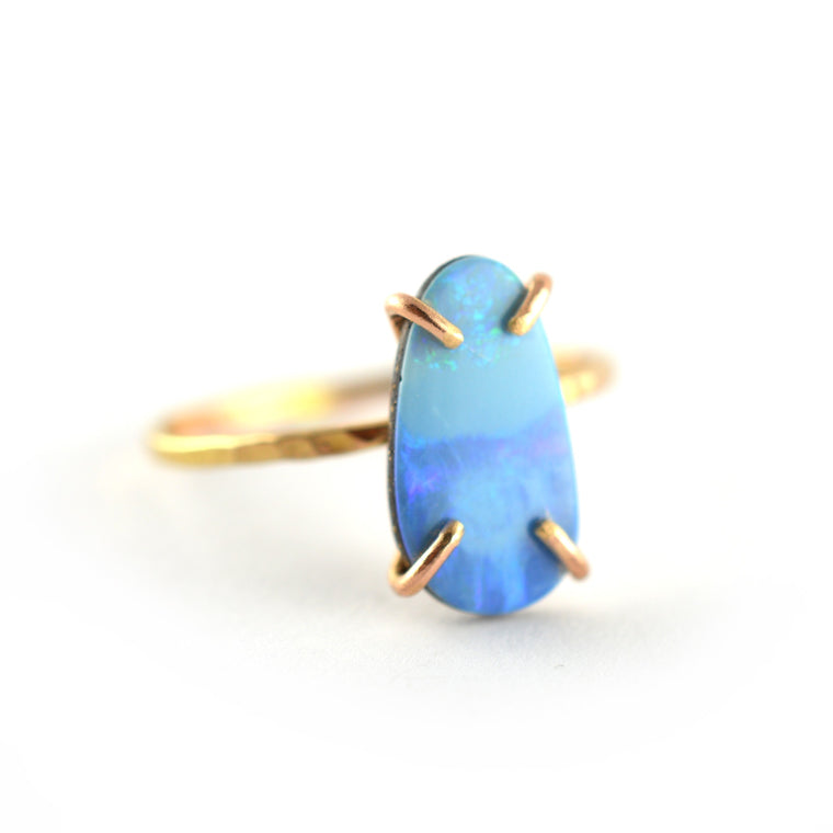 Blue Opal Doublet Ring, Size 7.5