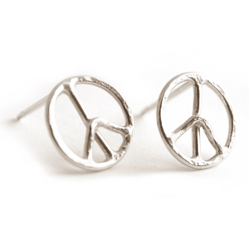 Peace Symbol Stud Earrings