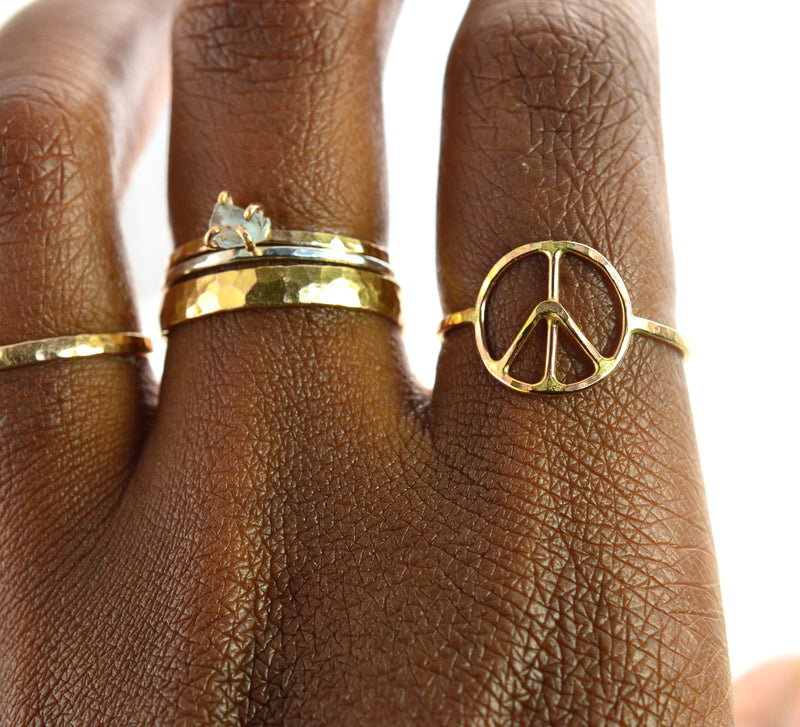 Hammered Peace Symbol Ring
